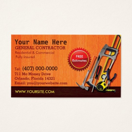 General Contractor Business Plan Template Lovely General Contractor Handyman Business Card Template