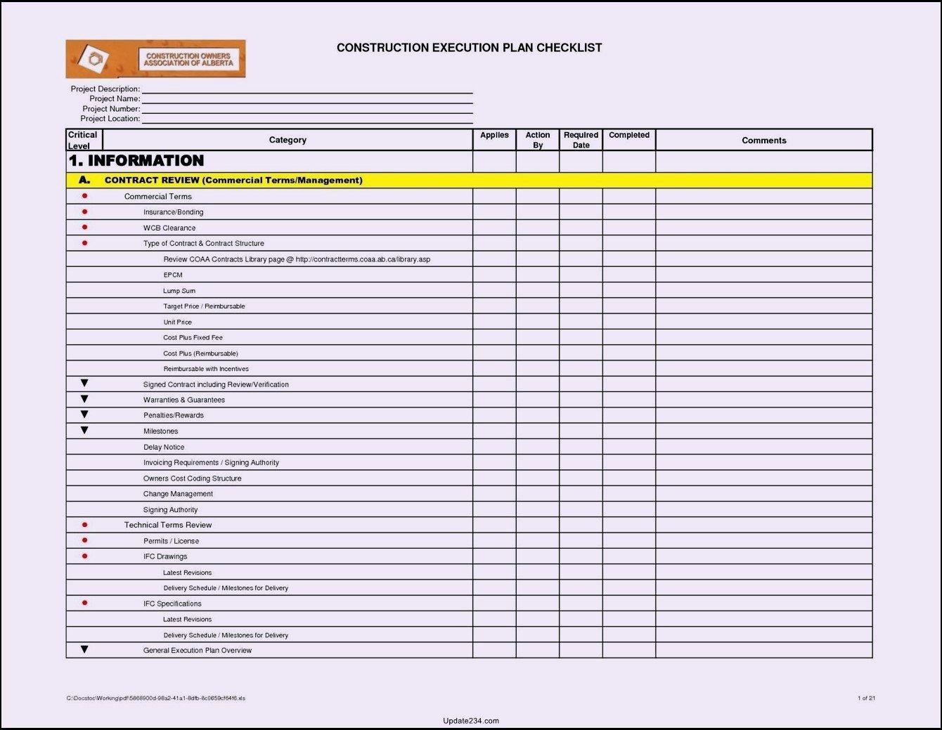 General Contractor Checklist Template Unique Building Maintenance Checklists – Emmamcintyrephotography
