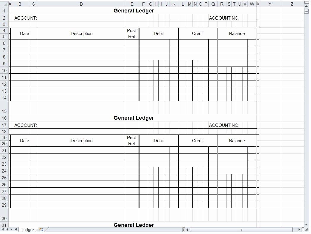 General Journal Template Excel Elegant General Ledger Spreadsheet