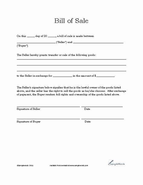 Generic Bill Of Sale form Printable Awesome Basic Bill Of Sale Template Printable Blank form