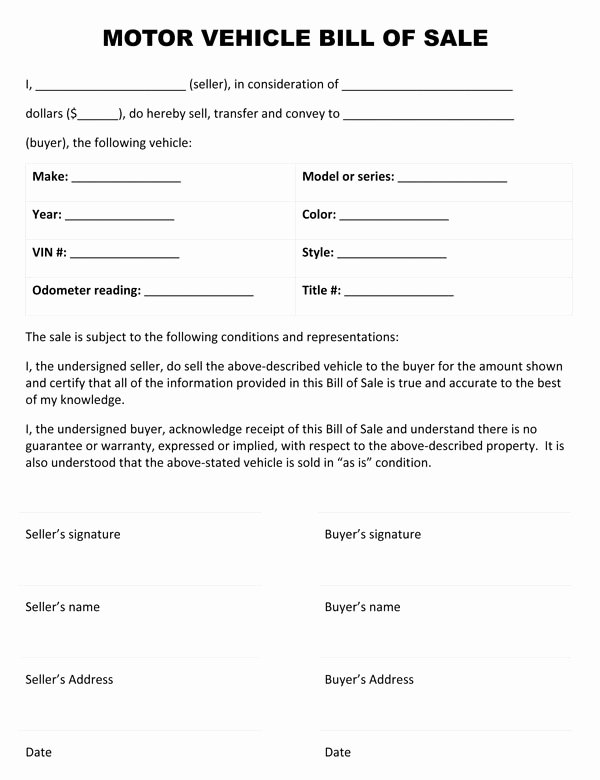 Generic Bill Of Sale form Printable Beautiful Free Printable Auto Bill Of Sale form Generic