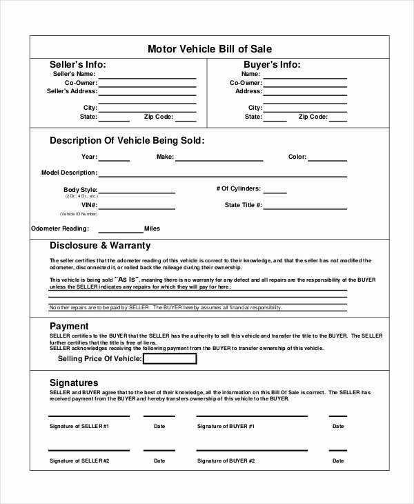 Generic Bill Of Sale form Printable Best Of Motor Vehicle Bill Of Sale 7 Free Word Pdf Documents