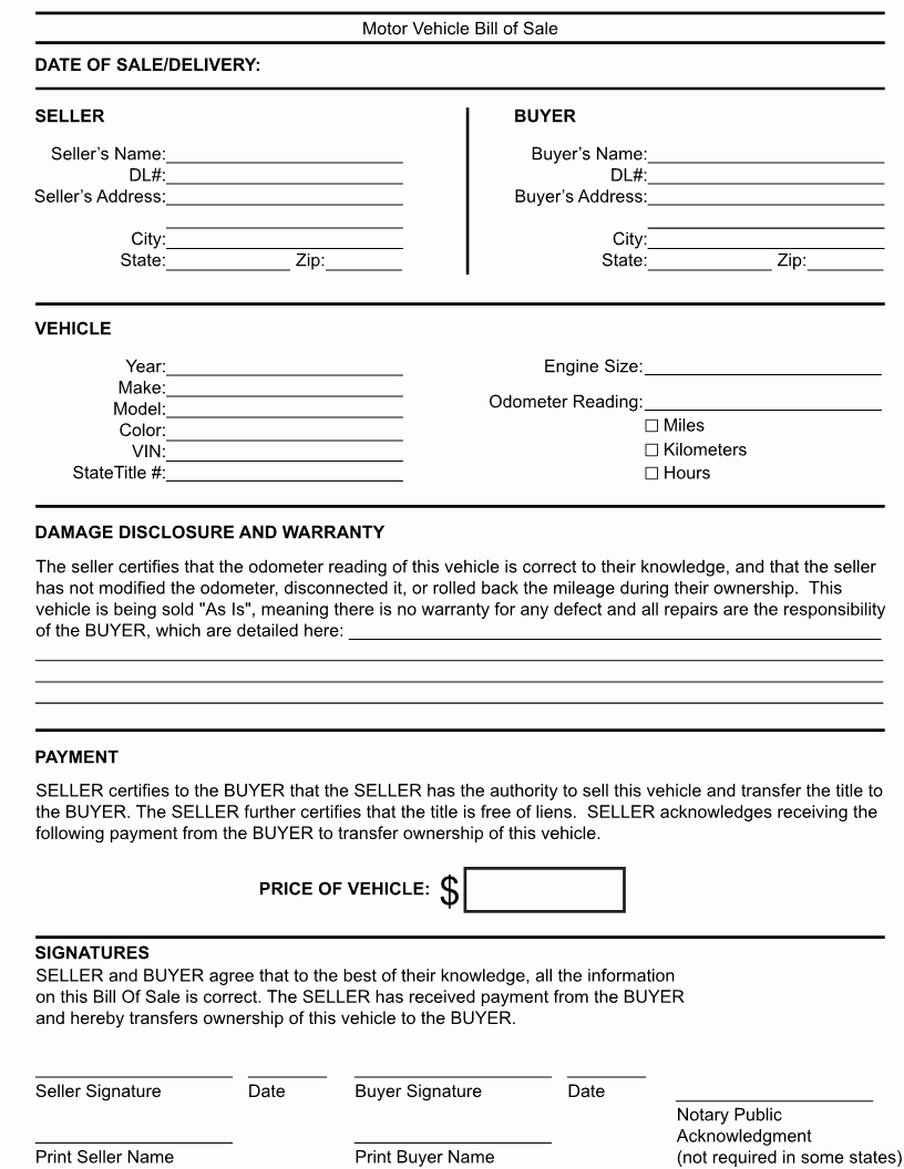 Generic Bill Of Sale form Printable Unique Free Kentucky Generic Bill Of Sale form Download Pdf