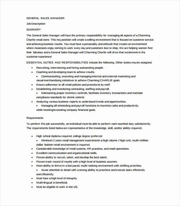 Generic Job Description Beautiful 12 General Manager Job Description Templates – Free