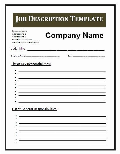 Generic Job Description Best Of 3 Job Description Template
