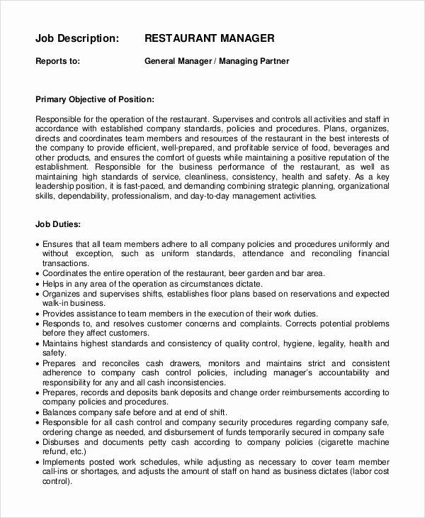 Generic Job Description Best Of Sample General Manager Job Description 9 Examples In