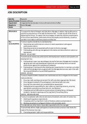 Generic Job Description Fresh Generic Job Description Band 2 Template 4