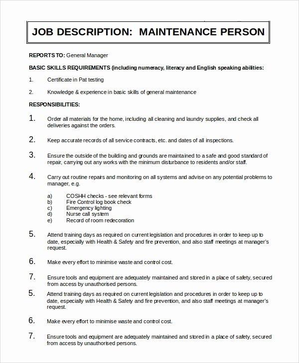 Generic Job Description Fresh Sample General Manager Job Description 9 Examples In