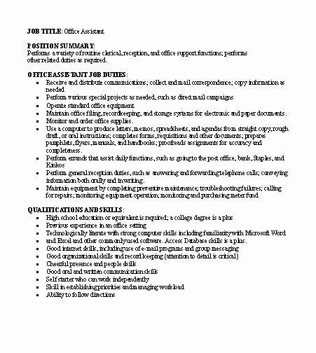 Generic Job Description Inspirational Free Job Descriptions Samples