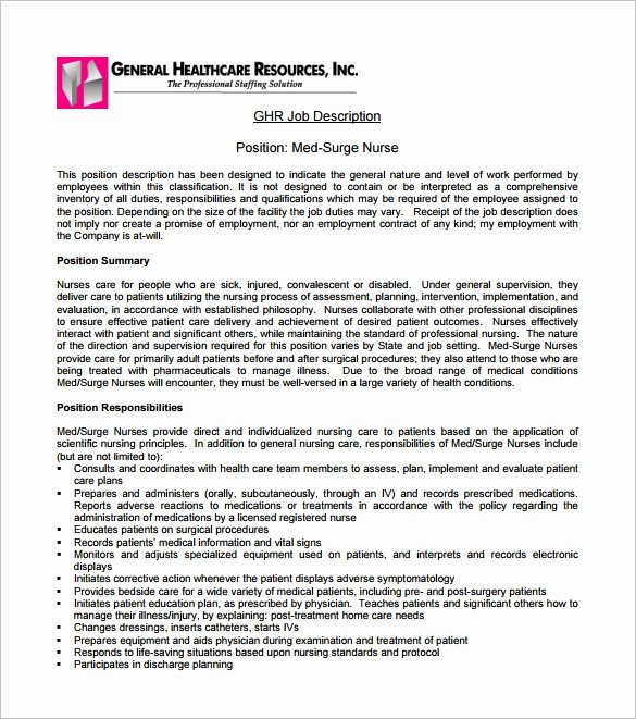 Generic Job Description Lovely Registered Nurse Job Description Template 8 Free Word