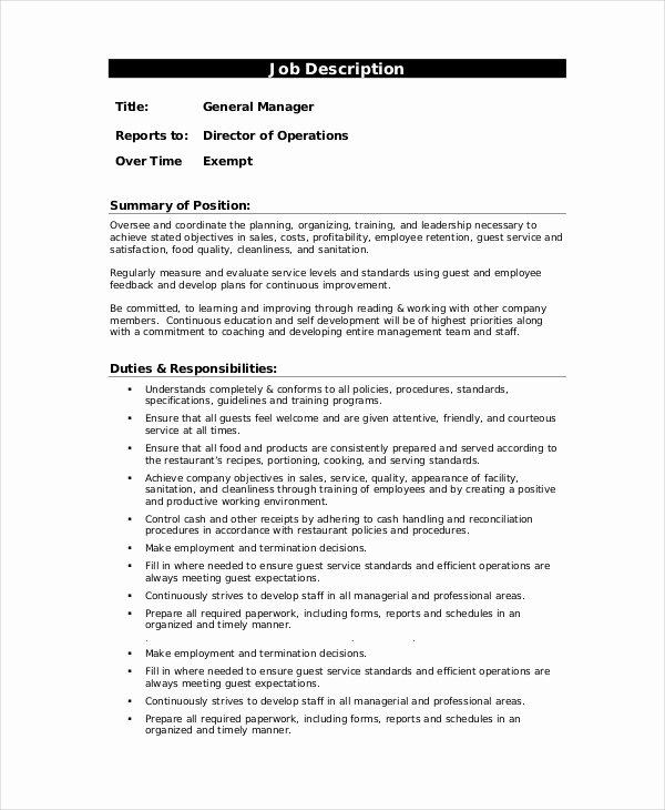 Generic Job Description Luxury 10 Sample Manager Job Description Templates Pdf Doc
