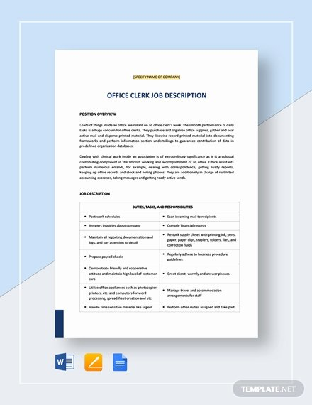 Generic Job Description Luxury 15 Clerk Job Descriptions Pdf Doc