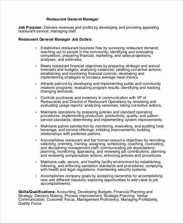 Generic Job Description Luxury Sample Restaurant Manager Job Description 9 Examples In