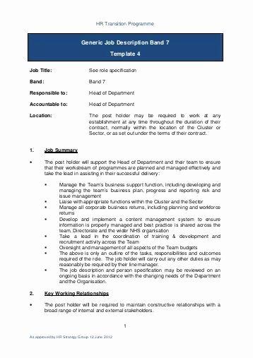 Generic Job Description New Generic Job Description Band 2 Template 4