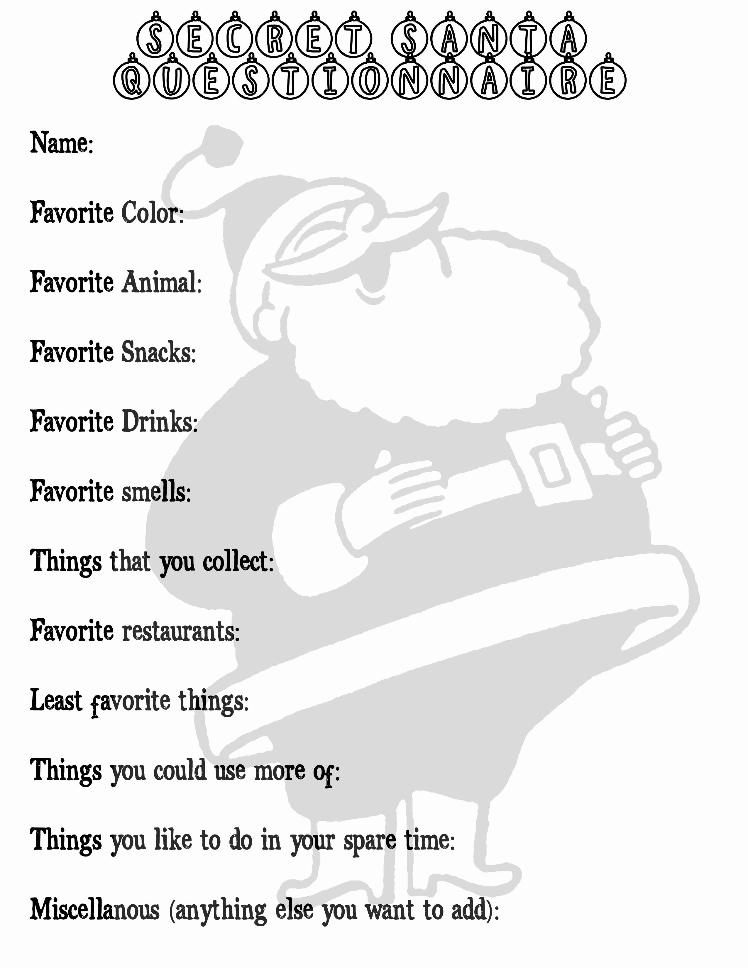 Gift Exchange Wish List Template Beautiful Secret Santa Questionnaire Printable Printable Pages