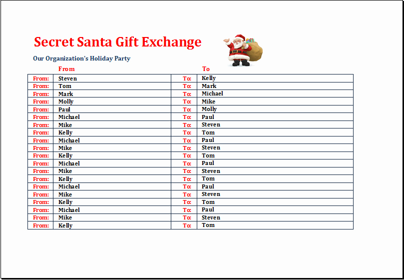 Gift Exchange Wish List Template Lovely Secret Santa Gift Exchange List Template