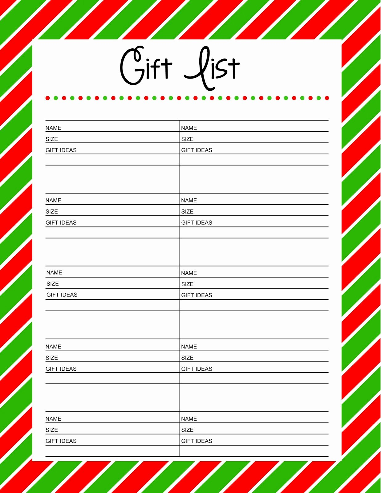 Gift Exchange Wish List Template Luxury Free Printable Gift List 25 Days to An organized