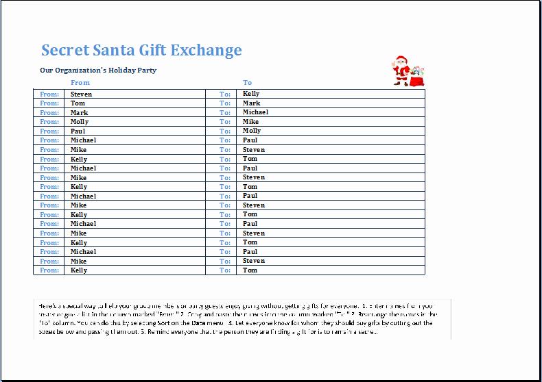 Gift Exchange Wish List Template Luxury Secret Santa Gift Exchange Template