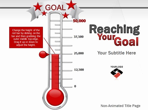 Goal thermometer Template Excel Inspirational Animated Goal Chart Template for Powerpoint