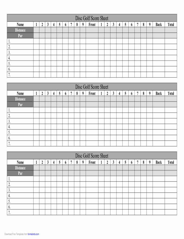 Golf Scorecard Template Best Of Disc Golf Score Sheet Free Download