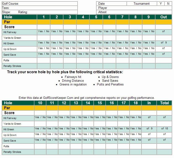 Golf Scorecard Template Elegant Download Free software Free Excel Templates for Golf