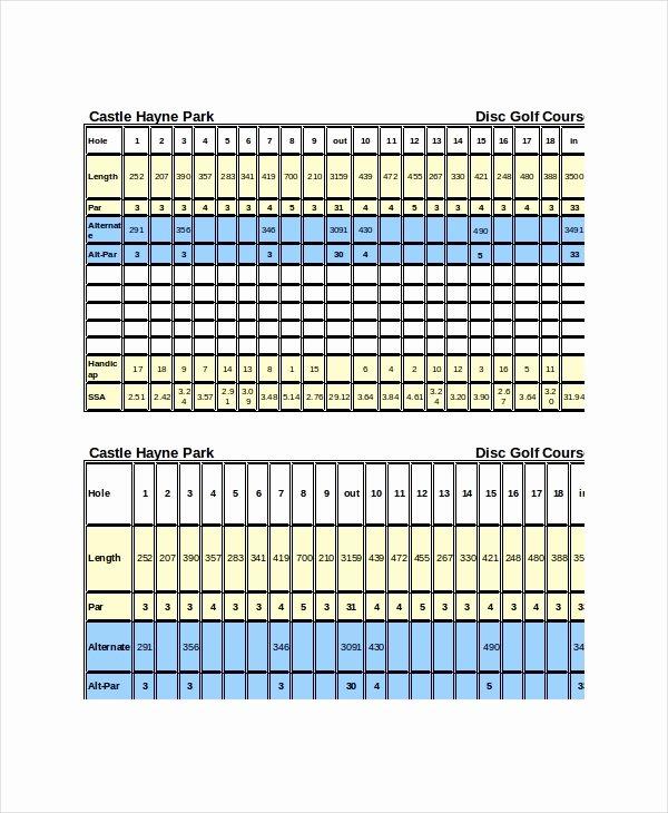 Golf Scorecard Template Excel Awesome 10 Golf Scorecard Templates Pdf Word Excel