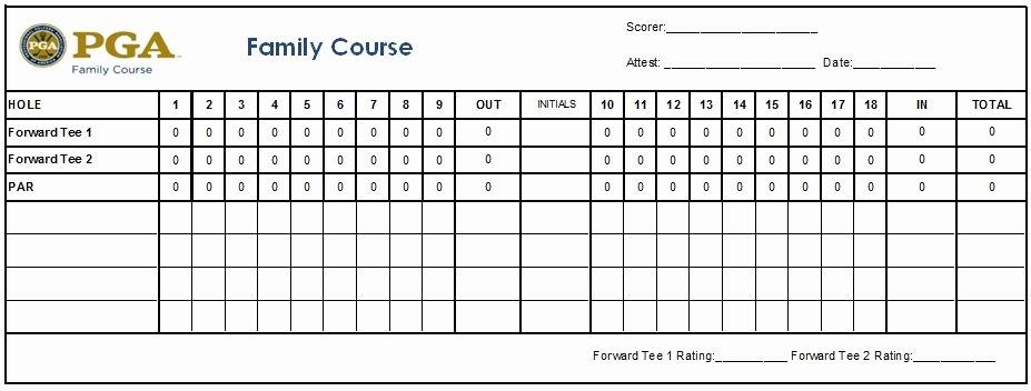 Golf Scorecard Template Fresh Scorecard Usga Rating