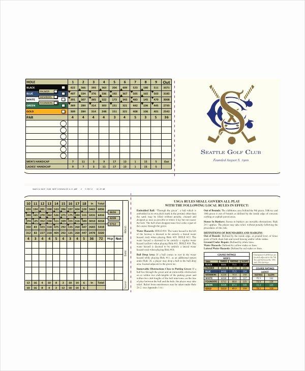 Golf Scorecard Template Inspirational 10 Golf Scorecard Templates Pdf Word Excel
