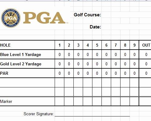 Golf Scorecard Template New Golf Scorecard Template Excel