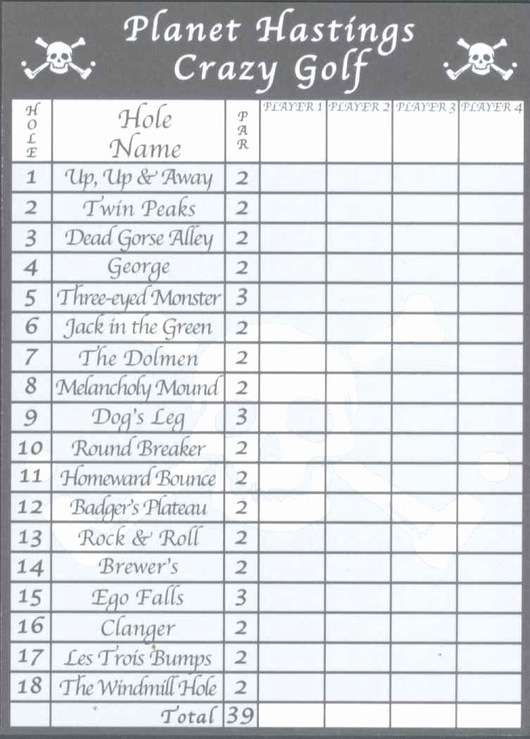 Golf Scorecard Template Unique Score Cards Of Crazy Golf Miniature Golf and Adventure
