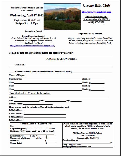Golf tournament Entry forms Template Awesome Books Below the Equator ¡leamos Golf tournament Registration