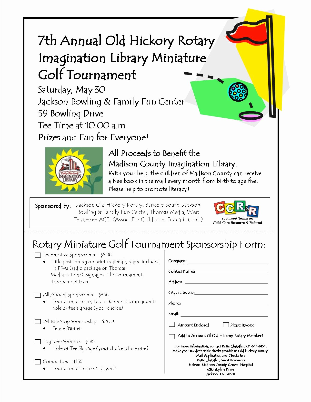 Golf tournament Entry forms Template Beautiful Madison County Imagination Library