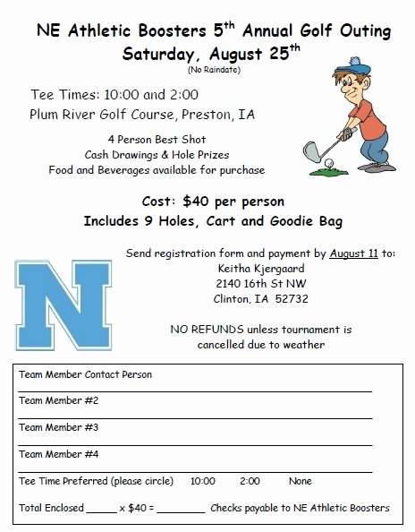 Golf tournament Entry forms Template Best Of northeast Munity School District athletic Booster