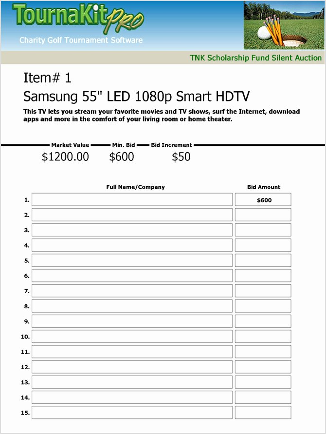 Golf tournament Entry forms Template Fresh Charity Auction forms 108 Silent Auction Bid