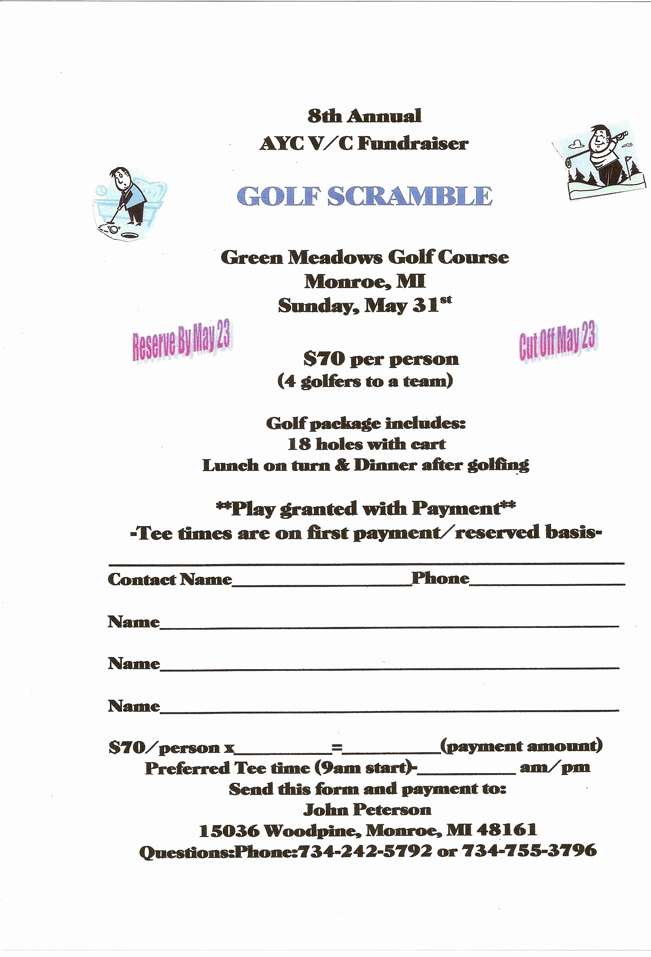 Golf tournament Entry forms Template Inspirational Club events