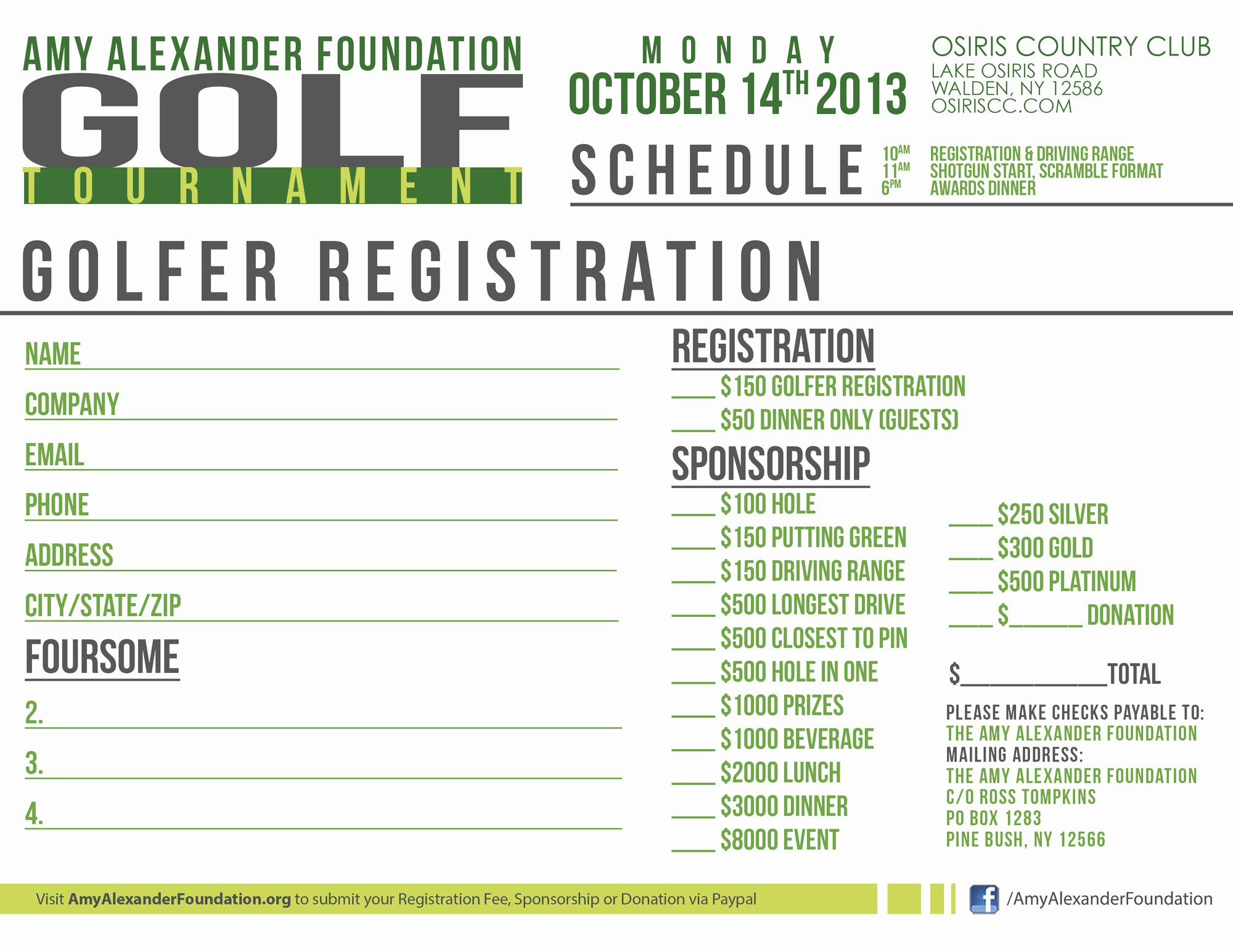 Golf tournament Entry forms Template Lovely the Amy Alexander Foundation