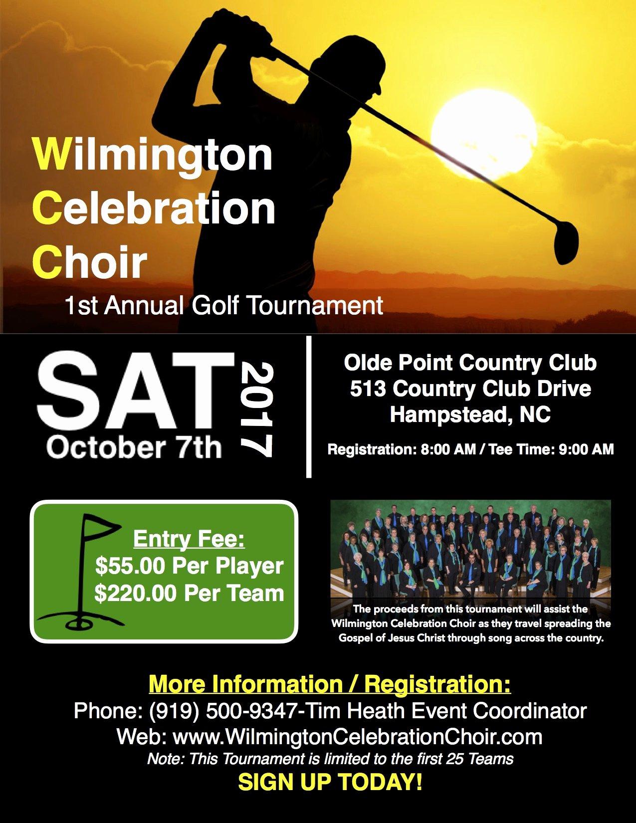 Golf tournament Entry forms Template Lovely Wilmington Celebration Choir Golf tournament