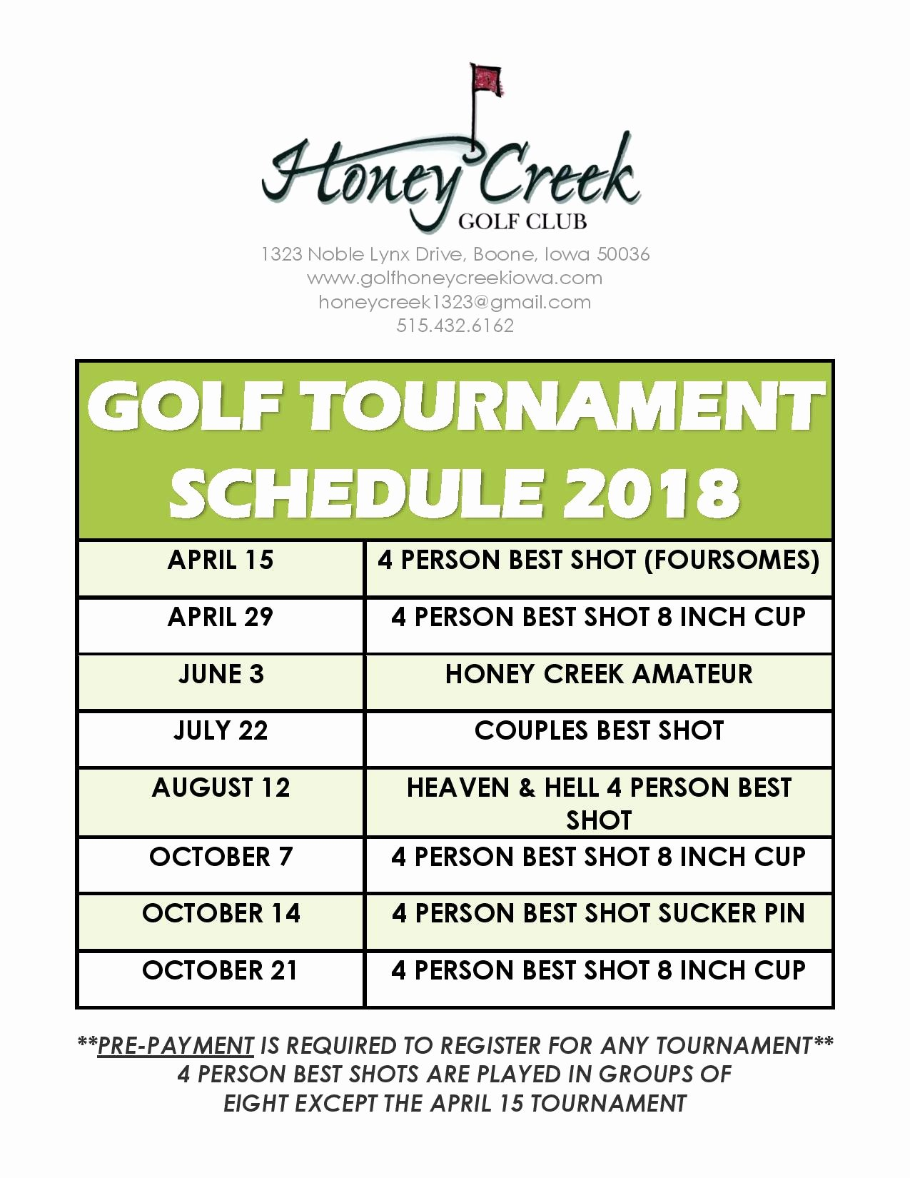 Golf tournament Entry forms Template Luxury tournament Schedule