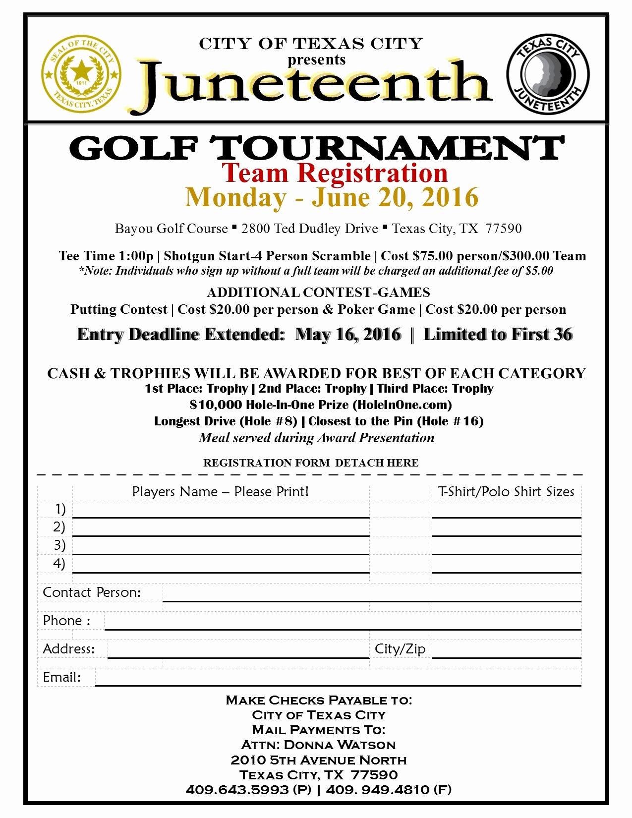 Golf tournament Entry forms Template New Juneteenth Golf tournament 2016