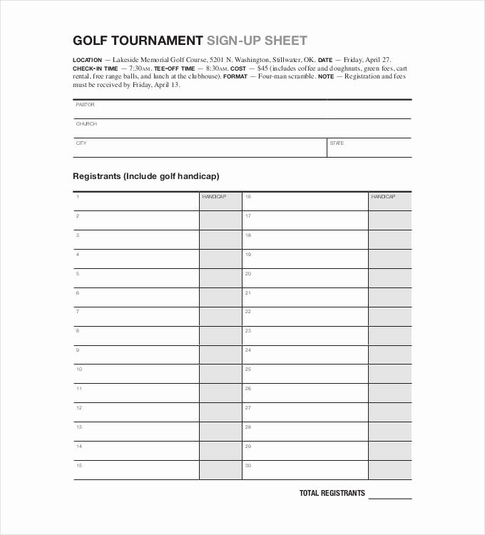 Golf tournament Entry forms Template New Sign Up Sheets 58 Free Word Excel Pdf Documents