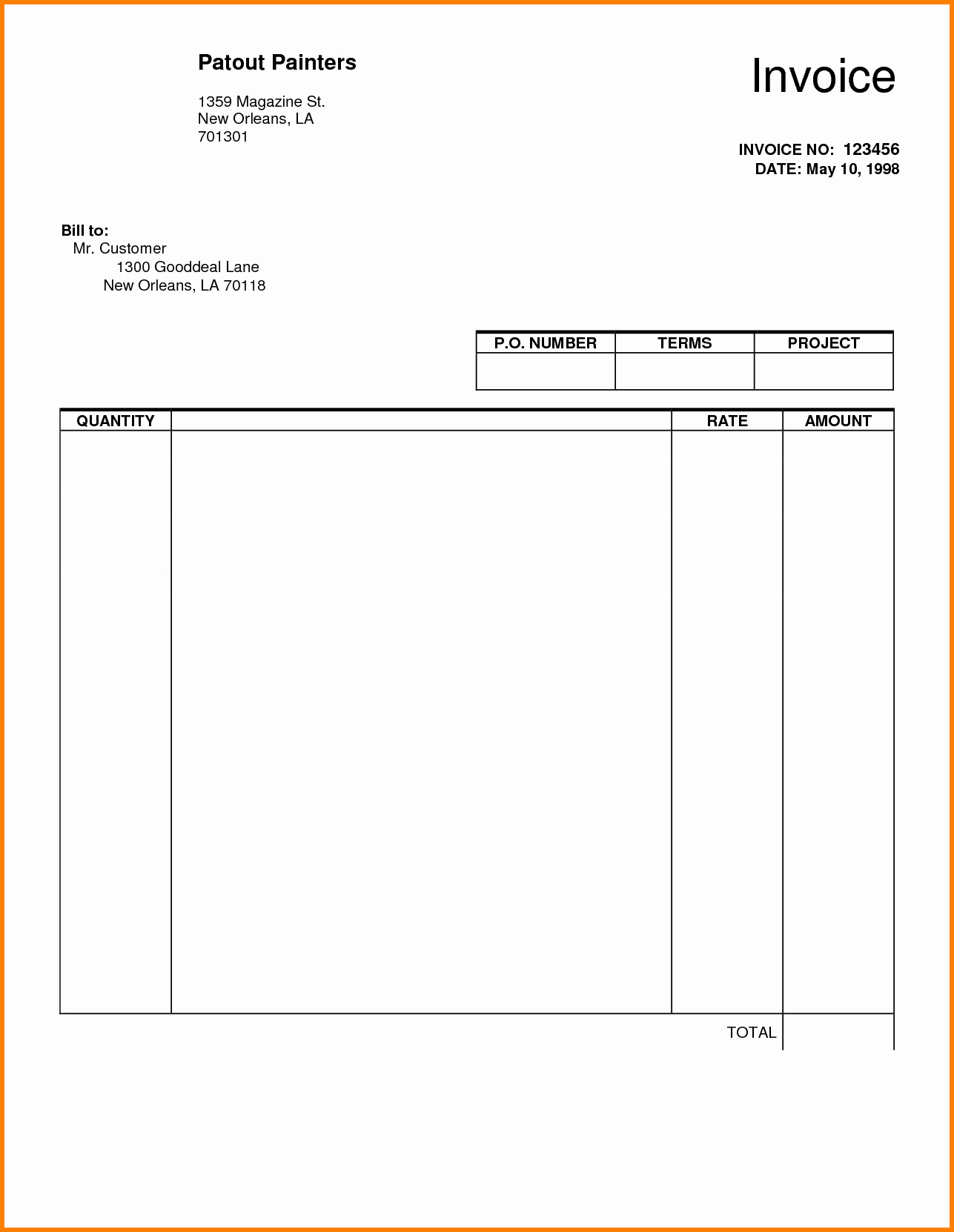 Google Docs Receipt Template Lovely Blank Invoice Pdf