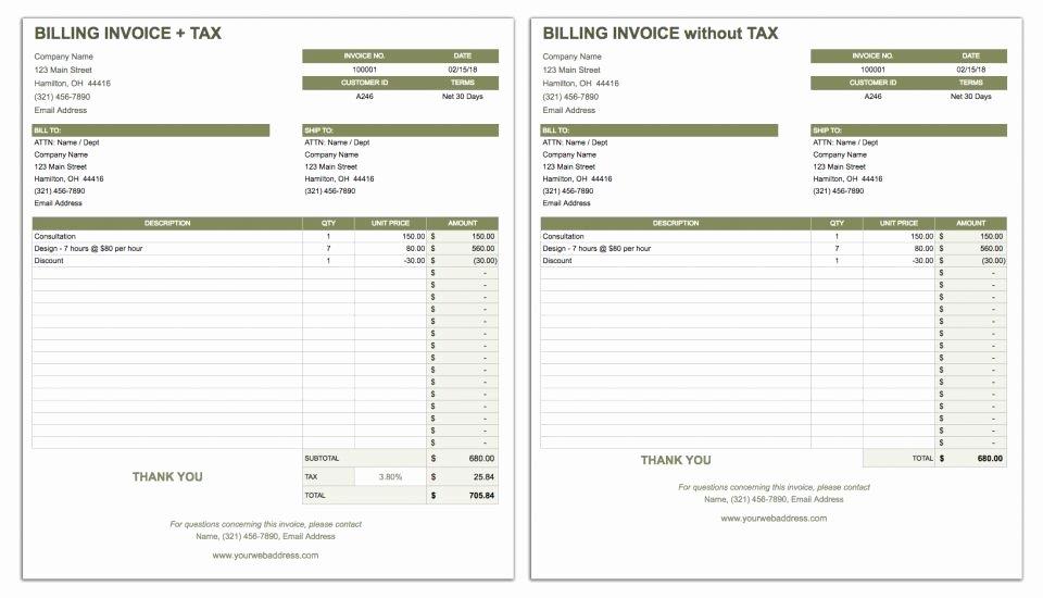 Google Sheet Invoice Template Fresh Free Google Docs Invoice Templates