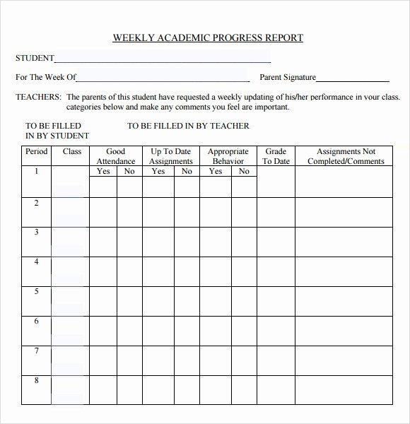 Grade Progress Report Template Elegant 13 Sample Weekly Progress Reports