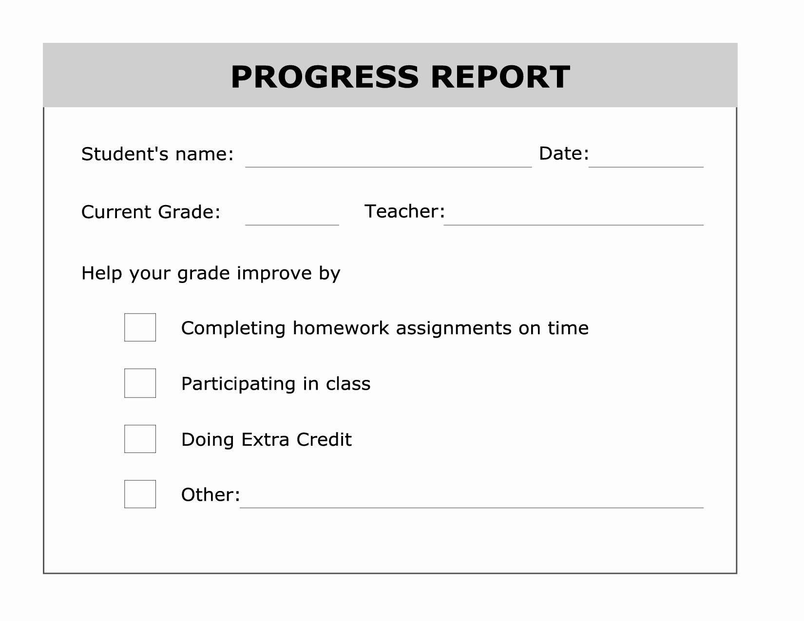 Grade Progress Report Template Elegant Printable Progress Report Template