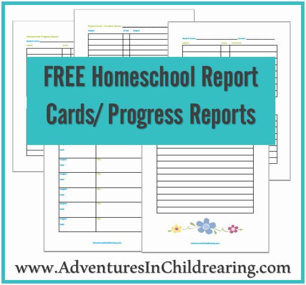 Grade Progress Report Template Fresh Free Homeschool Printable Progress Report and Report Card