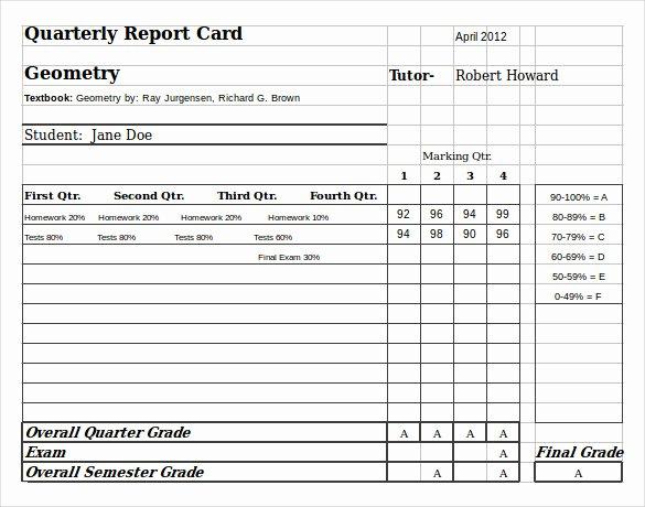 Grade Progress Report Template Luxury Sample Homeschool Report Card 7 Documents In Pdf Word