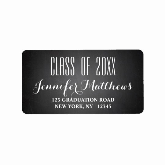 Graduation Address Labels Template Free Lovely Chalkboard Script Graduation Address Label