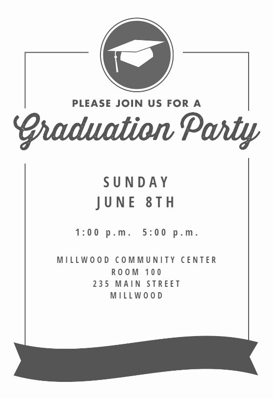 Graduation Card Template Word Elegant Ribbon Graduation Graduation Party Invitation Template