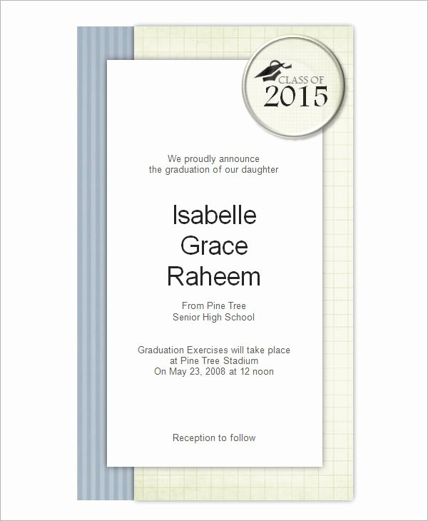 Graduation Card Template Word Lovely 7 Graduation Invitation Templates