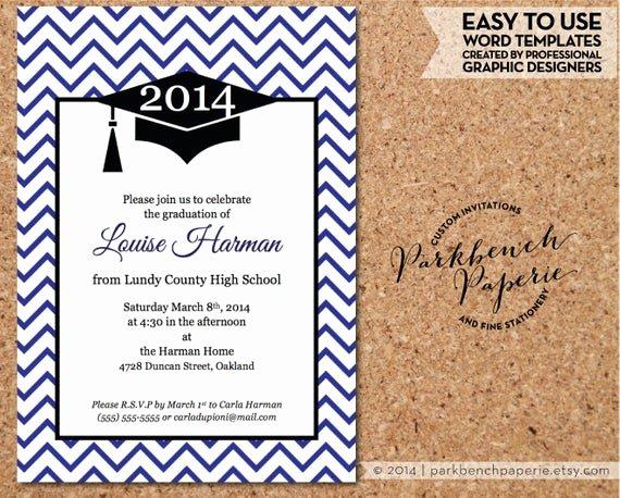 Graduation Card Template Word Luxury Graduation Invitation Announcement Chevron Design Royal